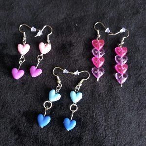 Women's Handmade Earrings Heart-shaped 3 Pairs
